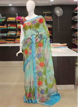 Digital Print Pure Banarasi Linen Saree