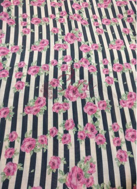 Digital Print Stripes and Floral Design Zarna Silk Fabric Per Meter