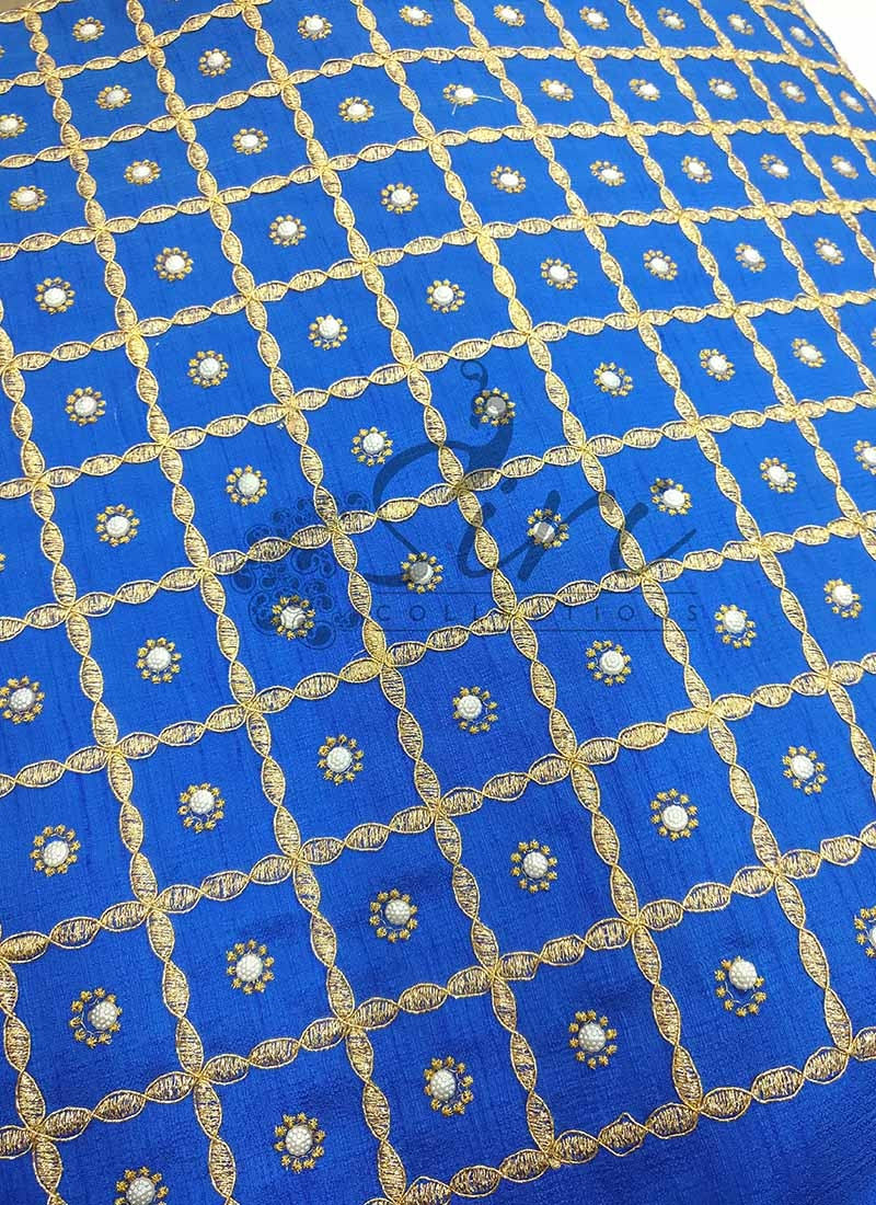 Double Shade Blue Raw Silk Fabric in Embroidery and Pearl work Per Meter