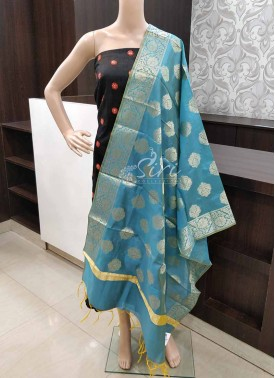 Double Shade Blue Yellow Chanderi Dupatta
