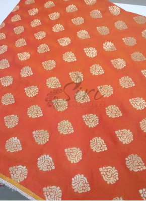 Double Shade Orange Fancy Banarasi Silk Fabric Per Meter