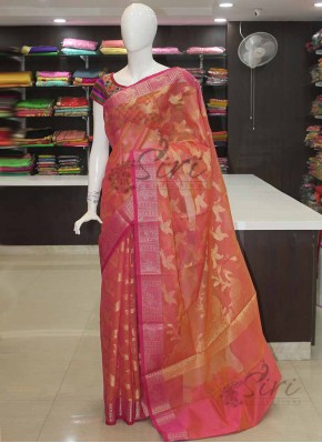 Double Shade Orange Pink Fancy Banarasi Kora Saree in Birds Buti