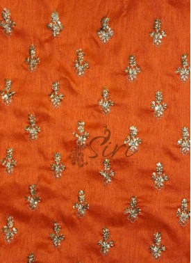 Double Shade Orange Raw Silk Fabric in Sequins and Embroidery Work Motifs by Meter