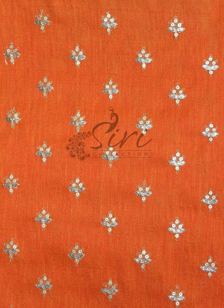Double Shade Orange Raw Silk Fabric in Sequins Embroidery Work by Meter