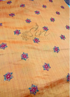 Double Shade Yellow Orange Banarasi Silk Fabric in Multi Colour Embroidered Butis Per Meter