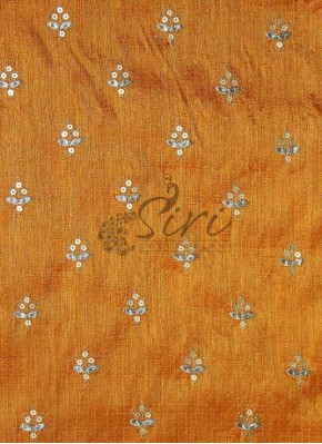 Double Shade Yellow Raw Silk Fabric in Sequins Embroidery Work by Meter
