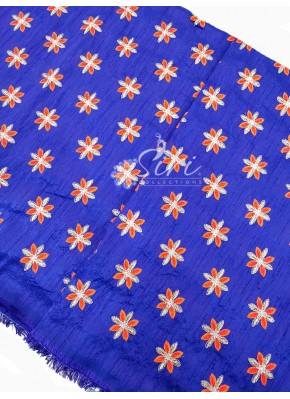 Double Shaded Purple/Blue Raw Silk Fabric in Embroidery Work Per Meter