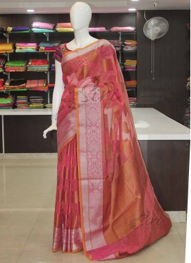 Dusky Pink Linen Jute Saree in Antique and Silver Zari