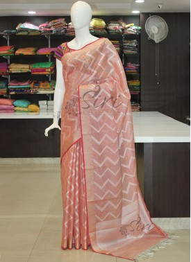 Dusky Pink Soft Tissue Saree