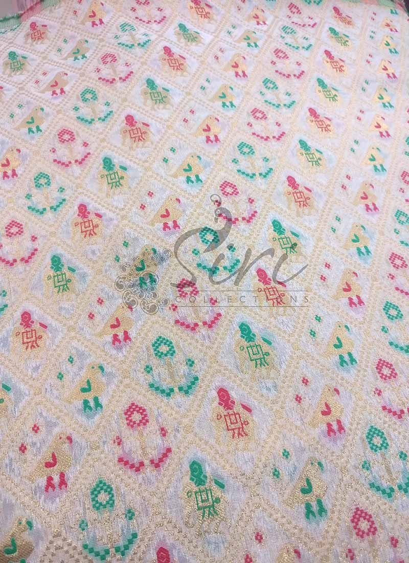 Dyeable White Fancy Banarasi Brocade Fabric in Elephant and Bird Design Per Meter