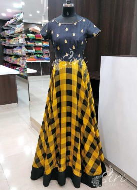 Elegant and Traditional Raw Silk and Pure Silk Checkered Design Long Frock