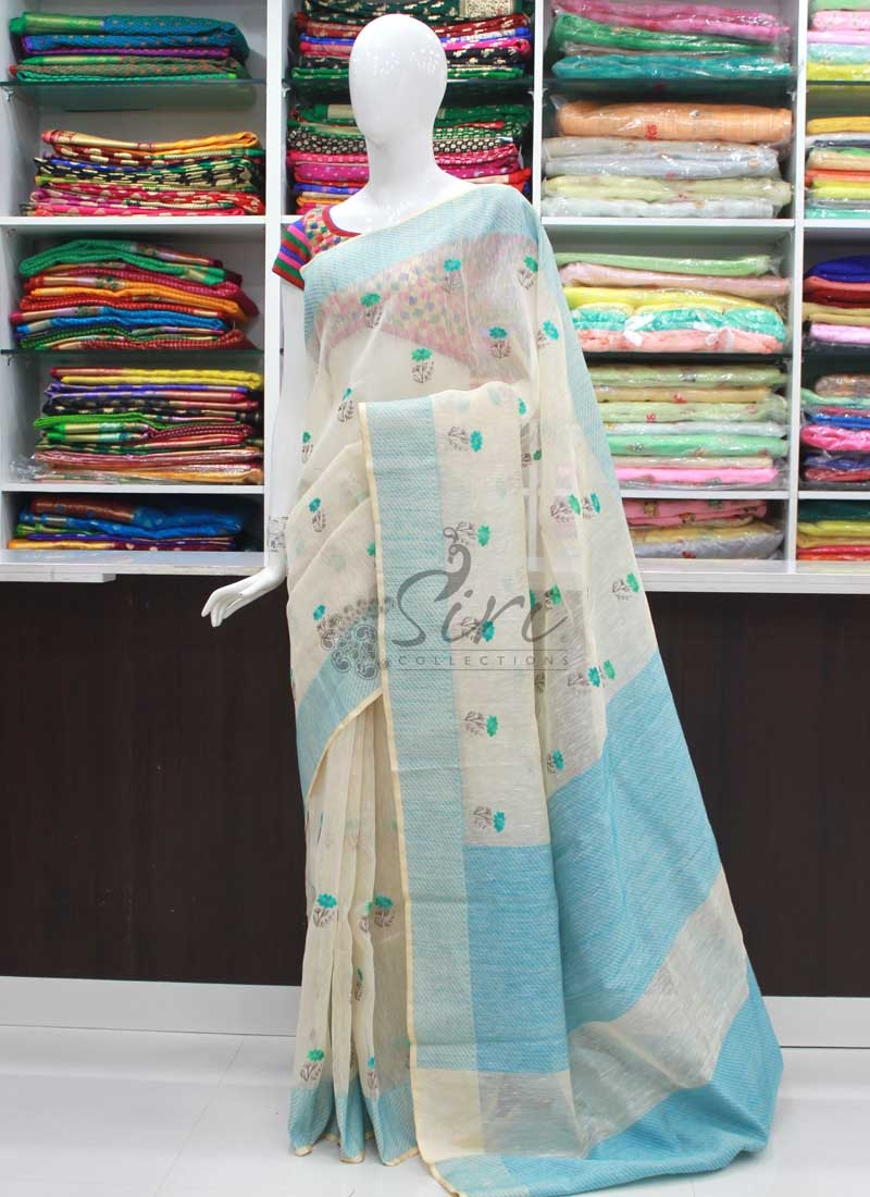 Elegant Banarasi Linen Saree in Embroidery Work Butis