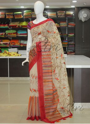 Elegant Chanderi Saree in Embroidery Work and Print