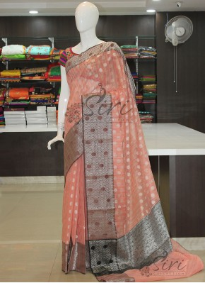 Elegant Chanderi Saree in Silver Zari