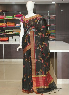 Elegant Cotton Silk Saree in Black