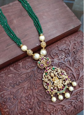 Elegant Emerald Coloured Beads Chain in Lakshmi Pe