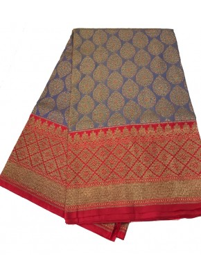Elegant Fancy Banarsi Pattu Saree in Antique Zari with Contrast Border