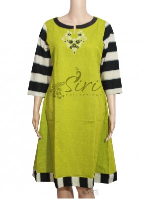 Elegant Green Black Cotton Kurti