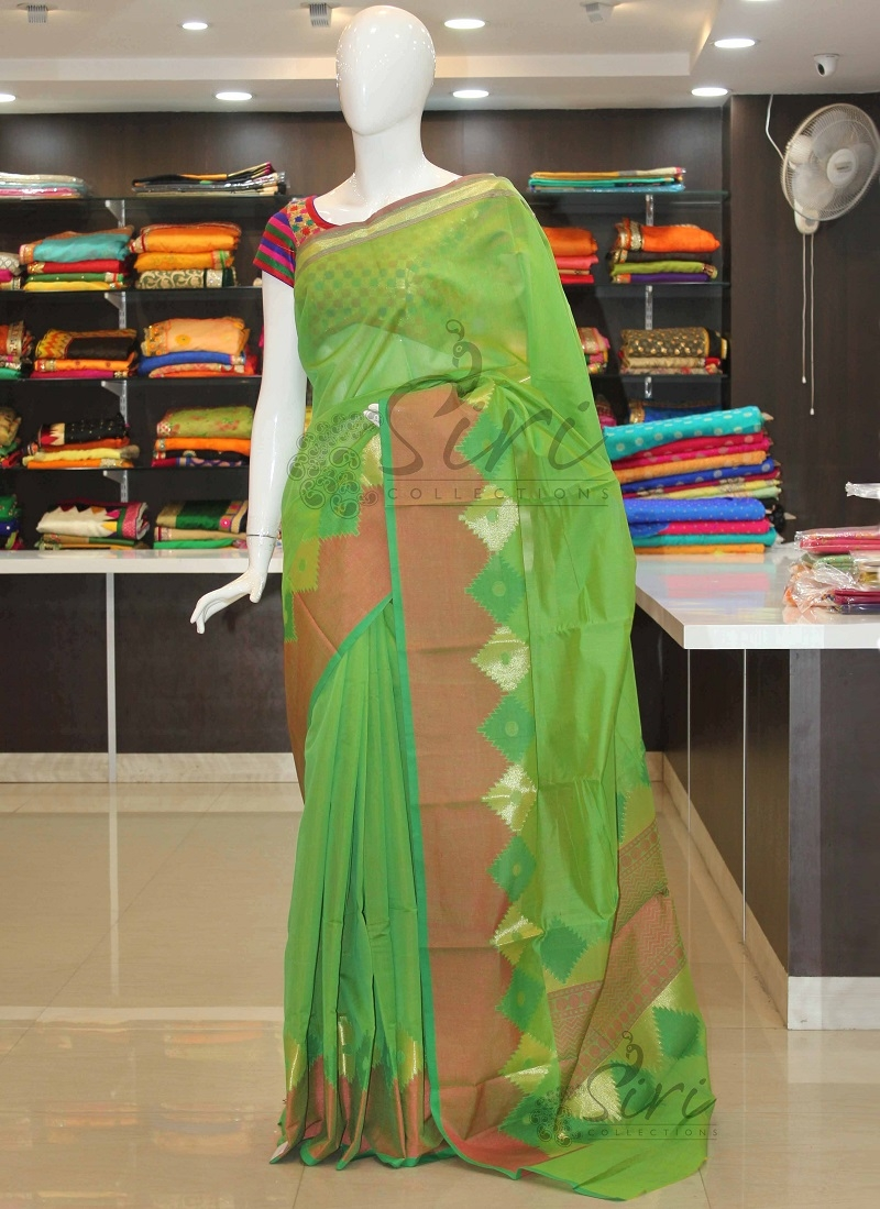 Elegant Green Chanderi Cotton Silk Saree