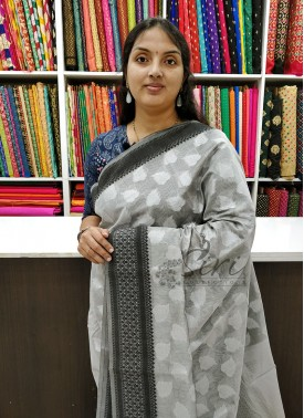 Elegant Grey Black Chanderi Saree