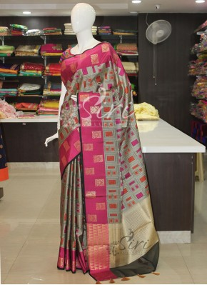 Elegant Grey Pink Orange Banarasi Cotton Silk Saree
