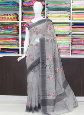 Elegant Grey Saree in Self Borders and Embroidery Work