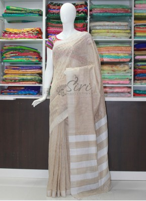 Elegant Jute Saree in Self Embroidery Work