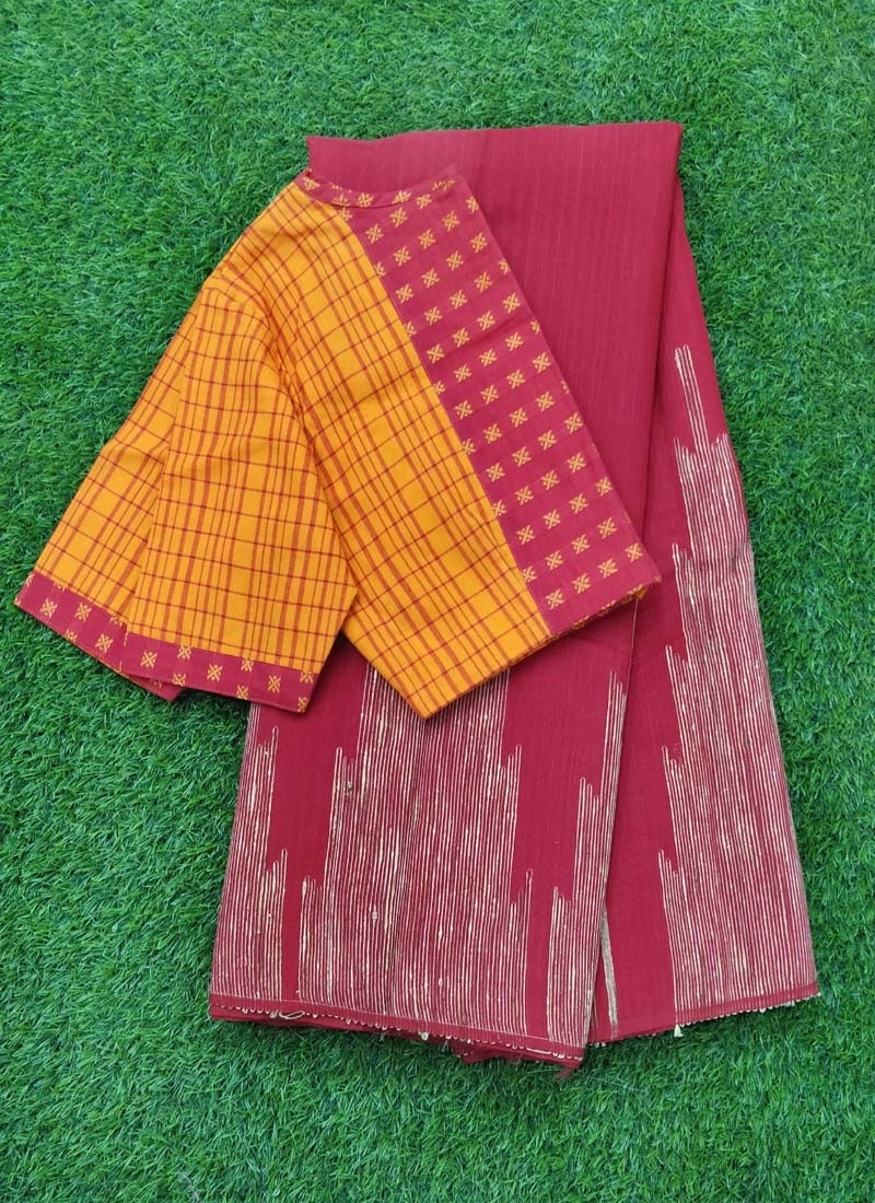 Elegant Jute Saree with Patterned Blouse