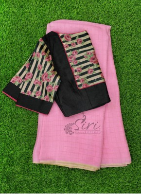 Elegant Jute Silk Saree with Patterned Blouse