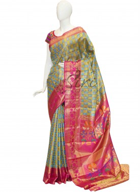 Elegant Look Green Blue Checks Pure Kanchipuram Saree with Pink Rich Pallu