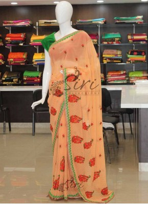 Elegant Look Pale Orange Georgette Designer Saree with Cut Work Border