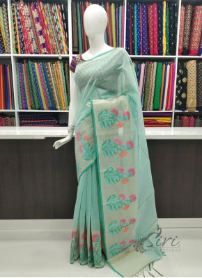 Elegant Lovely Soft Chanderi Saree in Embroidery Work