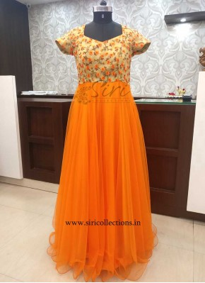 Elegant Orange and Gold Net Long Frock