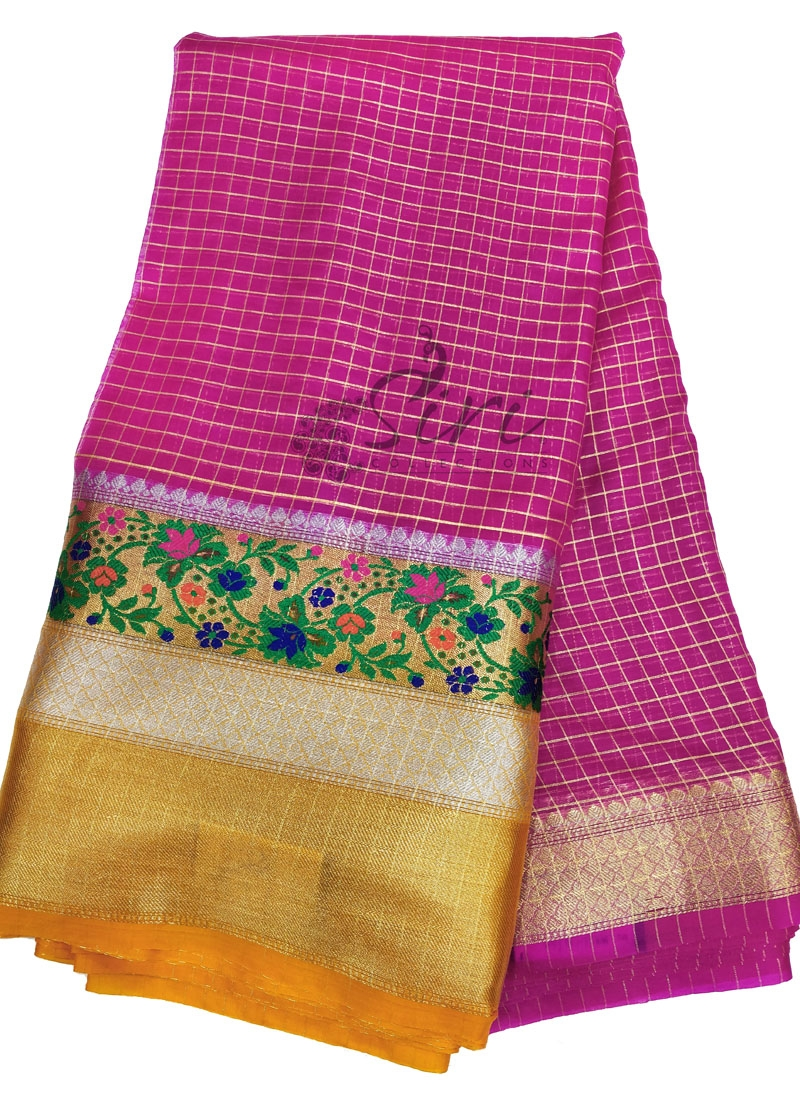 Elegant Organza Checks Fabric with Paithani Turning Border