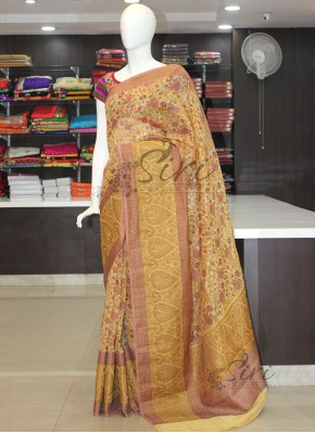Elegant Printed Banarasi Linen Saree in Antique Zari