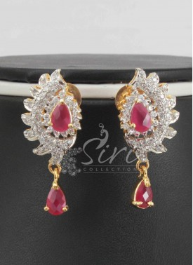 Elegant Ruby CZ Stone Designer Earrings