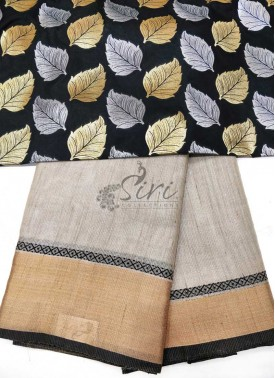 Elegant Silver Gold Tissue Saree with Banarasi Silk Blouse Fabric