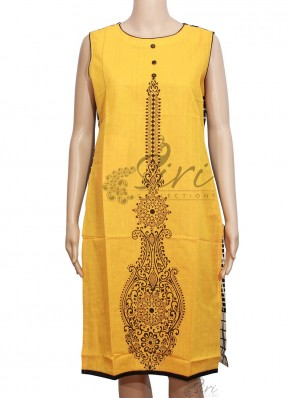 Elegant Yellow Black Cotton Kurti