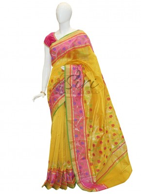 Elegant Yellow Chanderi Silk Saree in Rich Border and Rich Designer Pallu