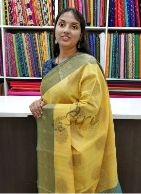 Elegant Yellow Green Chanderi Saree