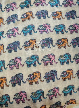 Elephant Design Digital Print Zarna Silk Fabric Pe