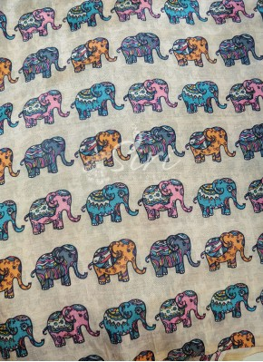 Elephant Design Digital Print Zarna Silk Fabric Per Meter