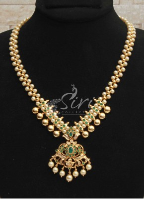 Emerald AD Stone Necklace Set with Pearl Drops