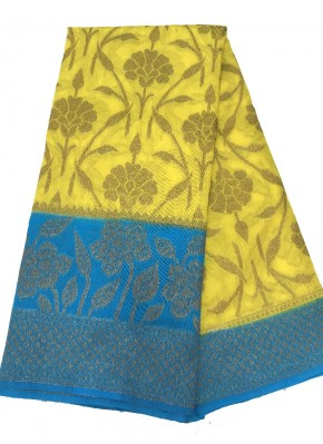 Eye Catching Bright Yellow Blue Banarasi Dupion Silk Saree