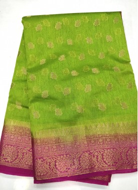 Fancy Art Silk Saree in Contrast Borders