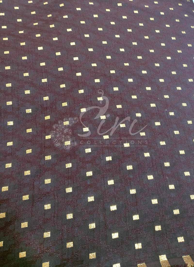 Fancy Banarasi Jacquard Fabric in Brown Per Meter