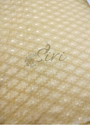 Fancy Banarasi Jacquard Fabric in Gold Per Meter