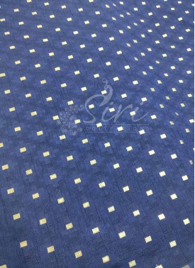 Fancy Banarasi Jacquard Fabric in Navy Blue Per Meter