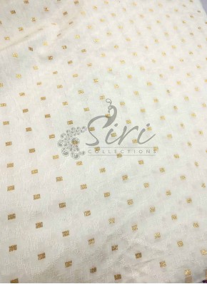 Fancy Banarasi Jacquard Fabric in Offwhite Per Meter