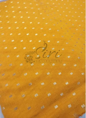 Fancy Banarasi Jacquard Fabric in Yellow Per Meter